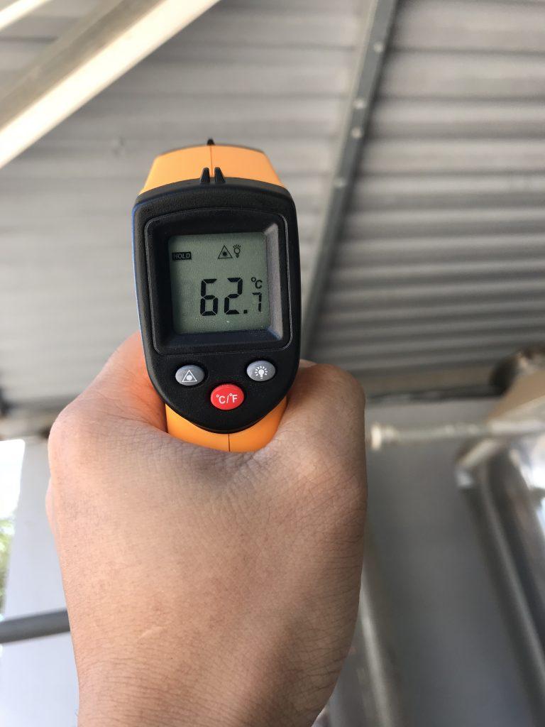 Nhiệt độ ban đầu khi chưa thi công chống nóng bằng PU Foam